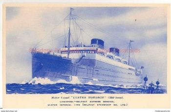 MV Ulster Monarch, Ulster Imperial Line / Belfast Steamship Co.1930s Postcard