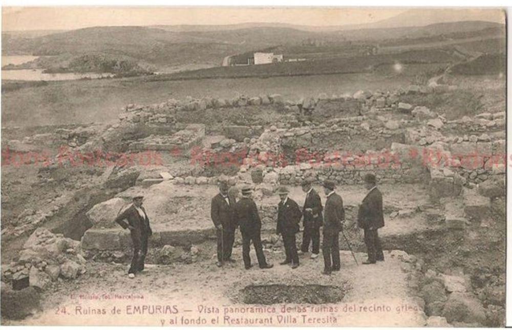Spain: Ruinas De Empurias, Foundations of Restaurant Villa Teresita. 1920s Photo Postcard