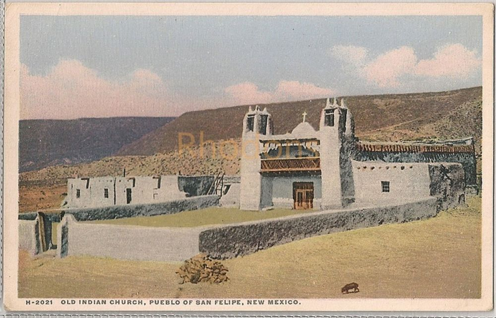 USA: New Mexico. Old Indian Church, Pueblo Of San Filipe. Fred Harvey, H-2021. Early 1900s Postcard
