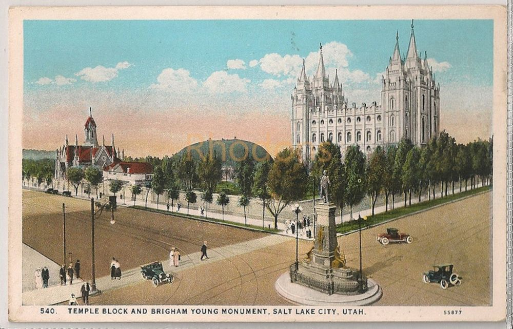USA: Utah. Temple Block & Brigham Young Monument, Salt Lake City. Early 1900s Postcard