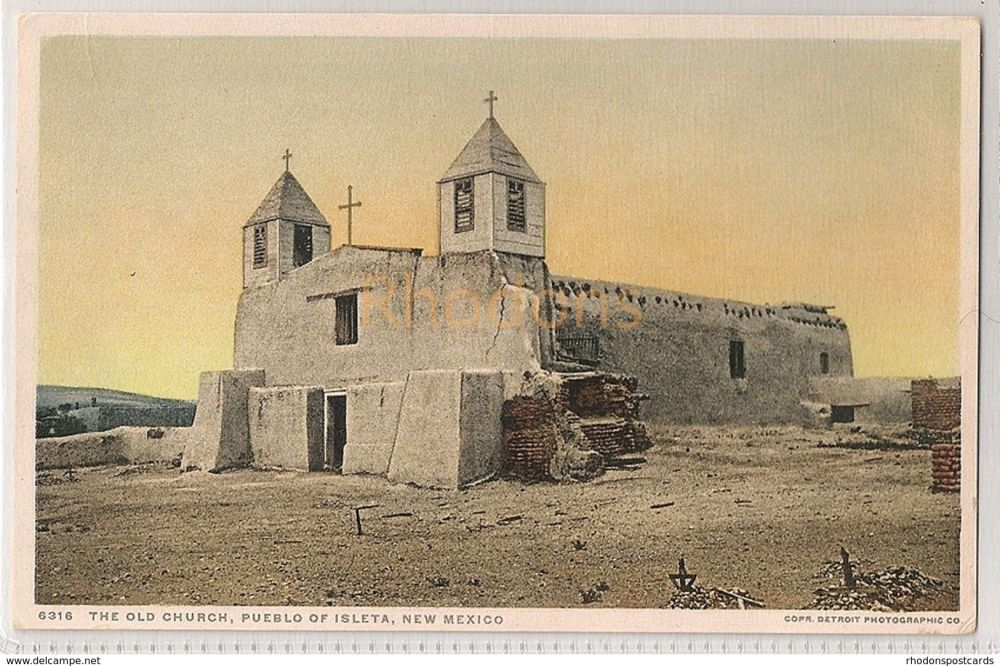 USA: New Mexico. The Old Church, Pueblo Of Isleta. Fred Harvey Postcard # 6316