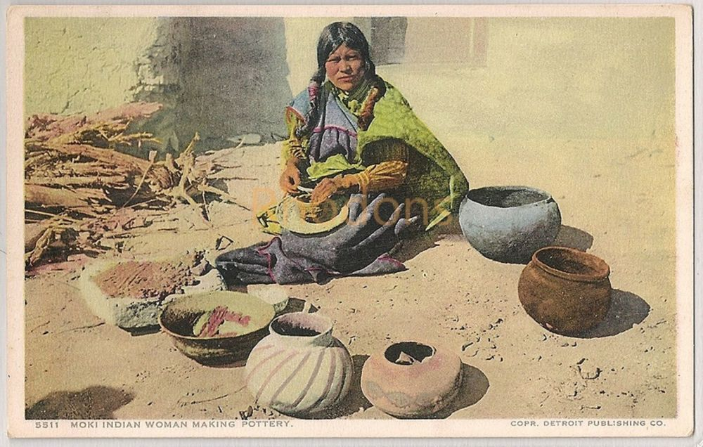 USA: Moki Indian Woman Making Pottery. Fred Harvey Postcard # 5511