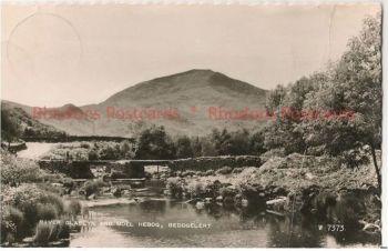 Wales: Gwynedd. River Glaslyn & Moel Hebog, Beddgelert. 1960s Real Photo Postcard