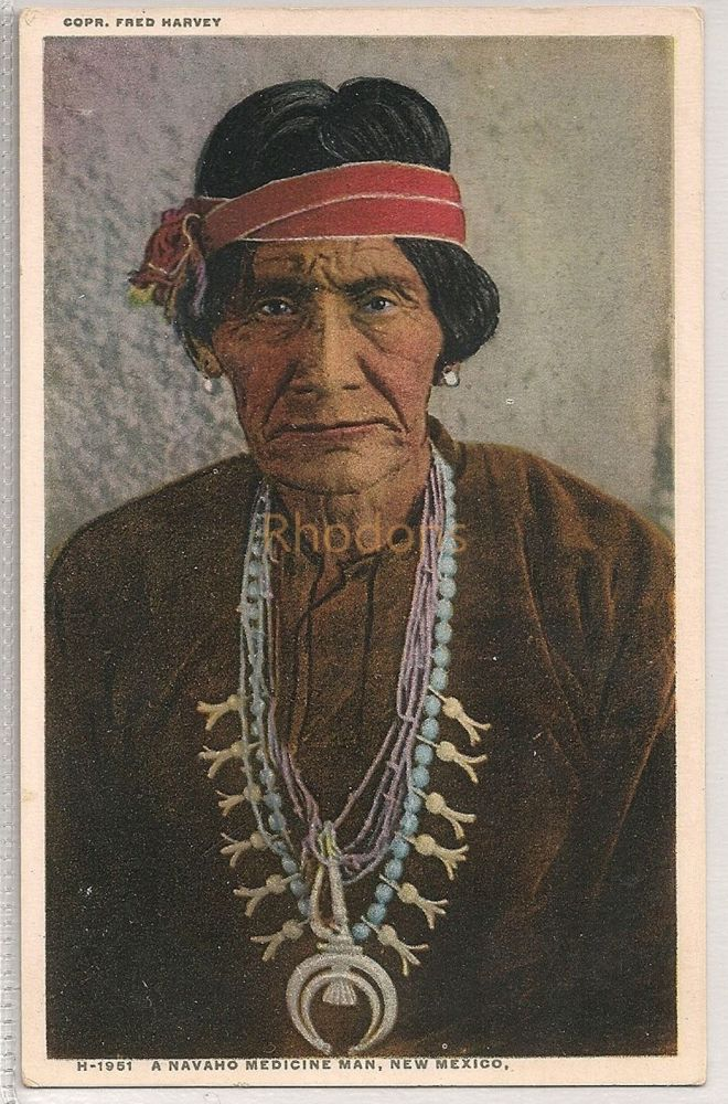 USA: New Mexico. Navaho Medicine Man, New Mexico. Fred Harvey Postcard # H-1951