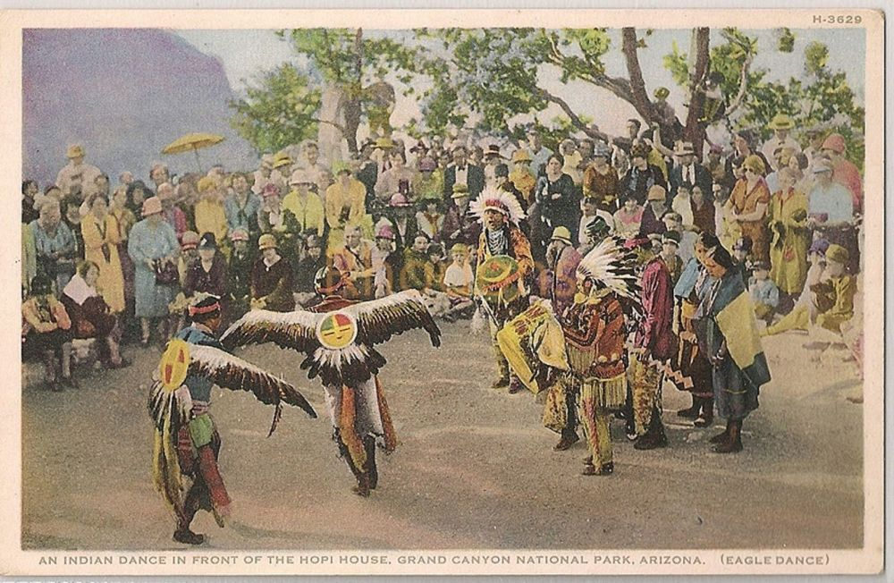 USA: Arizona. Hopi Eagle Dance, Grand Canyon National Park, Arizona. Fred Harvey Postcard # H.3629