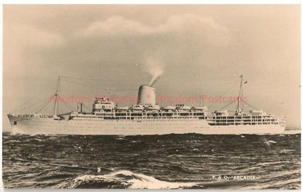 SS Arcadia, P&O Shipping Line. Circa 1950s Real Photo Postcard