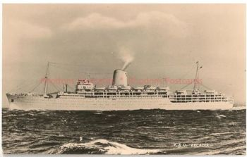 SS Arcadia, P&O Shipping Line. Circa 1950s Real Photo Postcard