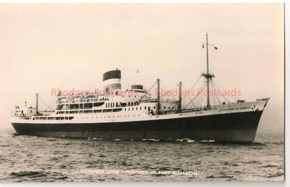 Ellerman Shipping Line: TSMV City Of Port Elizabeth. Real Photo Postcard