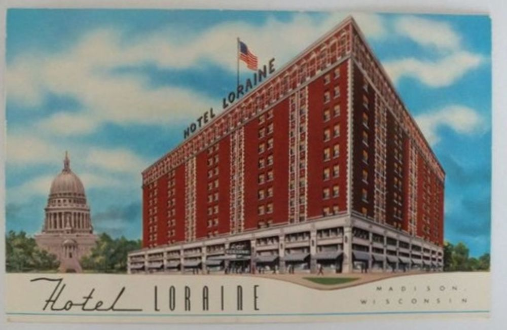 USA: Wisconsin. Hotel Loraine, Madison. Circa 1950s Postcard