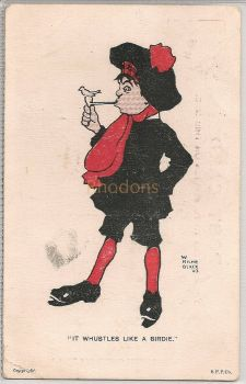 Humorous Early 1900s Postcard, W Milne Black
