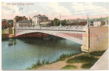 England: Devon. New Exe Bridge, Exeter, Showing Tram. Max Ettlinger & Co Early 1900s Postcard