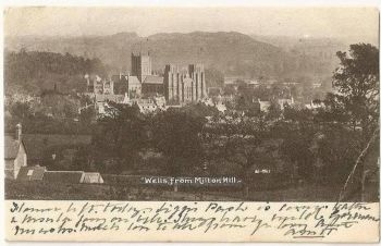 England: Somerset. Wells, From Milton Hill. Early 1900s Postcard
