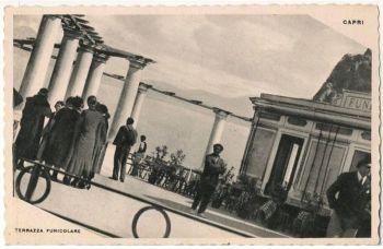 Italy: Capri. Terrazza Funicolare Terminus, Capri. 1940s Postcard