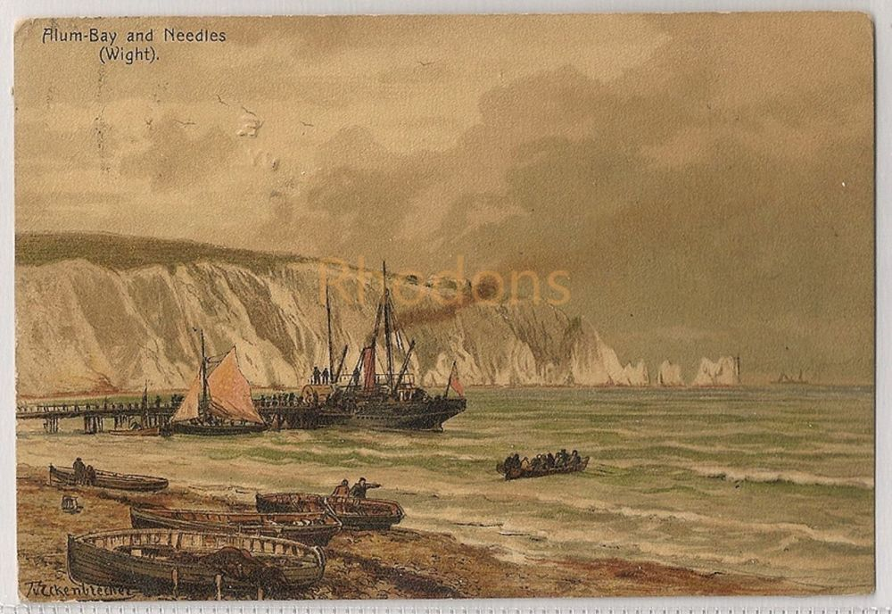 England: Isle of Wight. Allum Bay And Needles (Wight), Eckenbrecker. Pascalis Moss & Co. Early 1900s Postcard