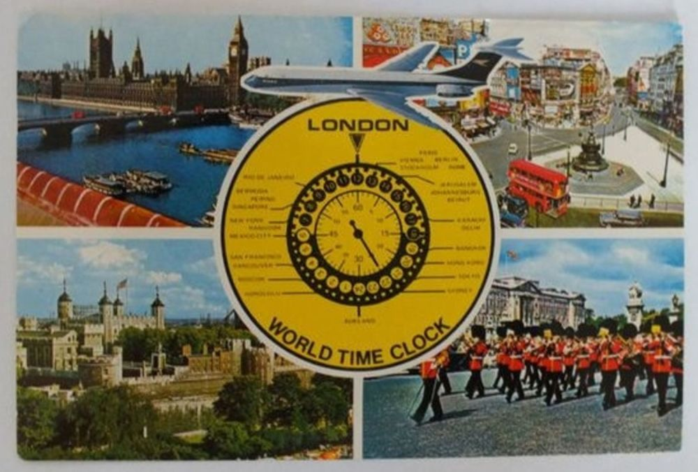 England: London. Multi View & World Time Clock.1970s Postcard