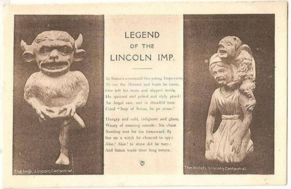 England: Lincolnshire. Legend Of The Lincoln Imp. Circa 1920s Postcard