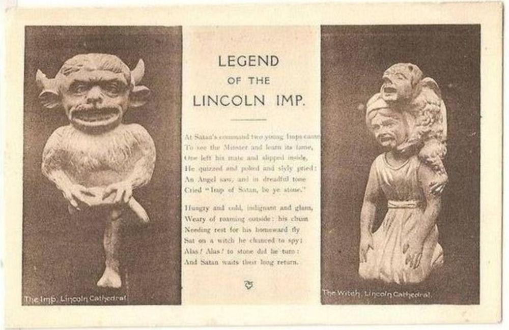 Lincolnshire. Legend Of The Lincoln Imp. Circa 1920s Postcard