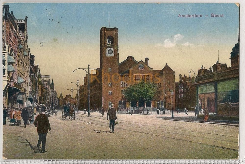 Netherlands: Amsterdam Stock Market, Beurs, Borse & Street View. Early 1900s Postcard