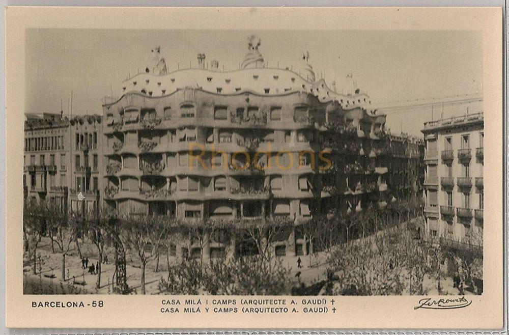 Spain: Barcelona. Casa Mila Y Camps. (Gaudi Architect). Real Photo Postcard