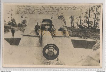 World War I Gun, Cannon De Barrage And Soldiers, Photo Postcard