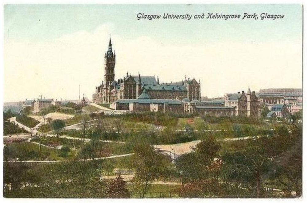 Scotland: Lanarkshire. Glasgow University and Kelvingrove Park. Early 1900s Postcard