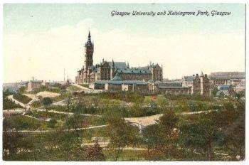 Scotland: Lanarkshire. Glasgow University and Kelvingrove Park. Early 1900s Postcard