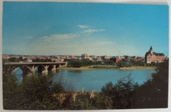 Canada: Saskatchewan. Saskatoon. Elevated View Of City Of Bridges. 1970s Postcard