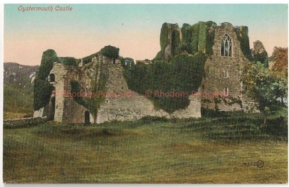 Wales: Oystermouth Castle, Swansea Bay, Gower Peninsula. Early 1900s Valentines Postcard