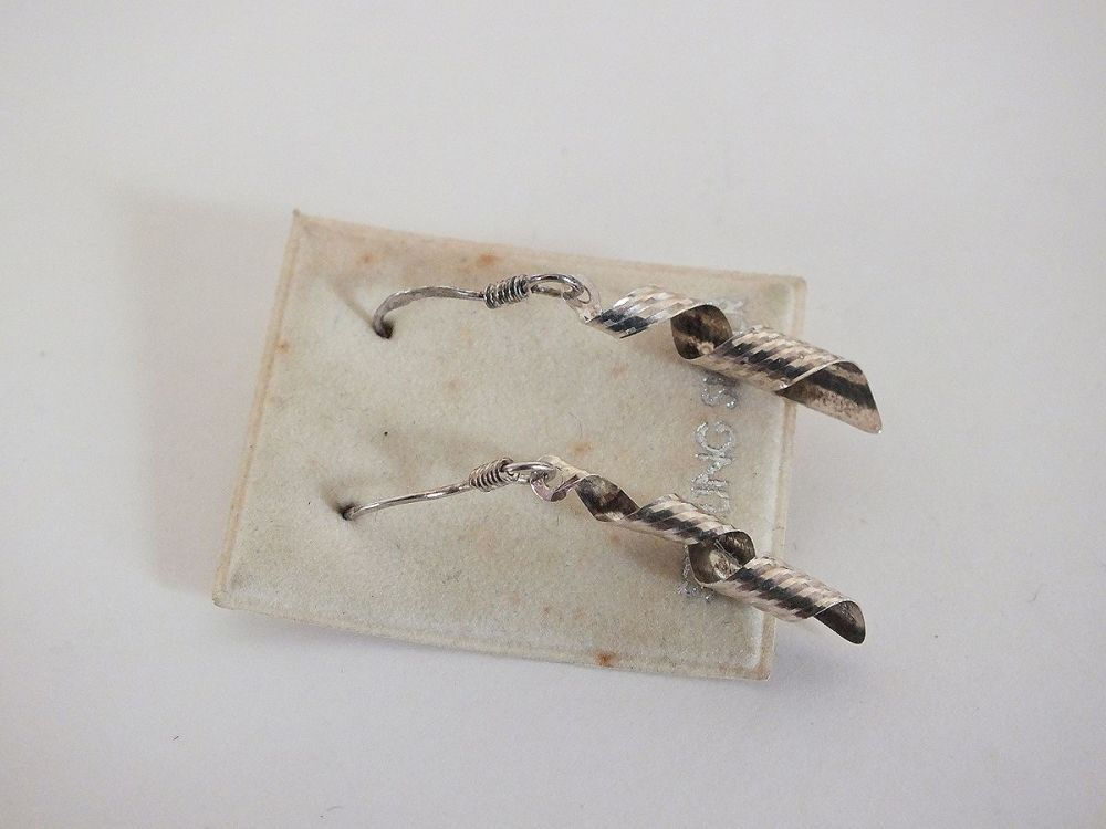 Vintage Sterling Silver Dangle Drop Earrings For Pierced Ears