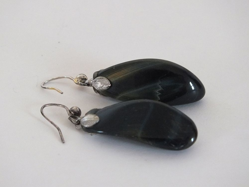 Vintage Earrings, Polished Stone Drops For Pierced Ears