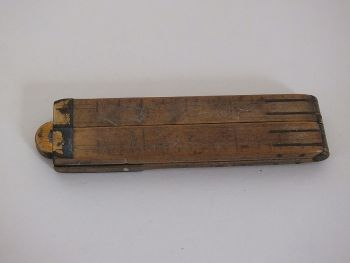 "Antique 12"" Folding Ruler, Boxwood & Brass"