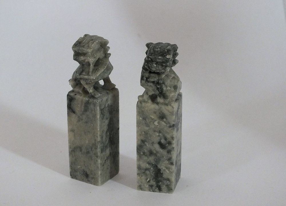 Chinese Carved Soapstone Chop Seals, Foo Dogs