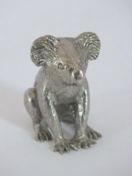 Koala Bear Figure, Silvered Metal / Pewter