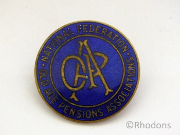 National Federation Of Old Age Pensions Association Enamel Badge, 1930s