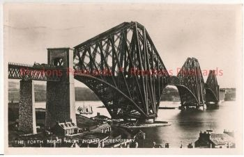 Scotland: Fife, The Forth Bridge From North Queensferry. 1940s RP Postcard