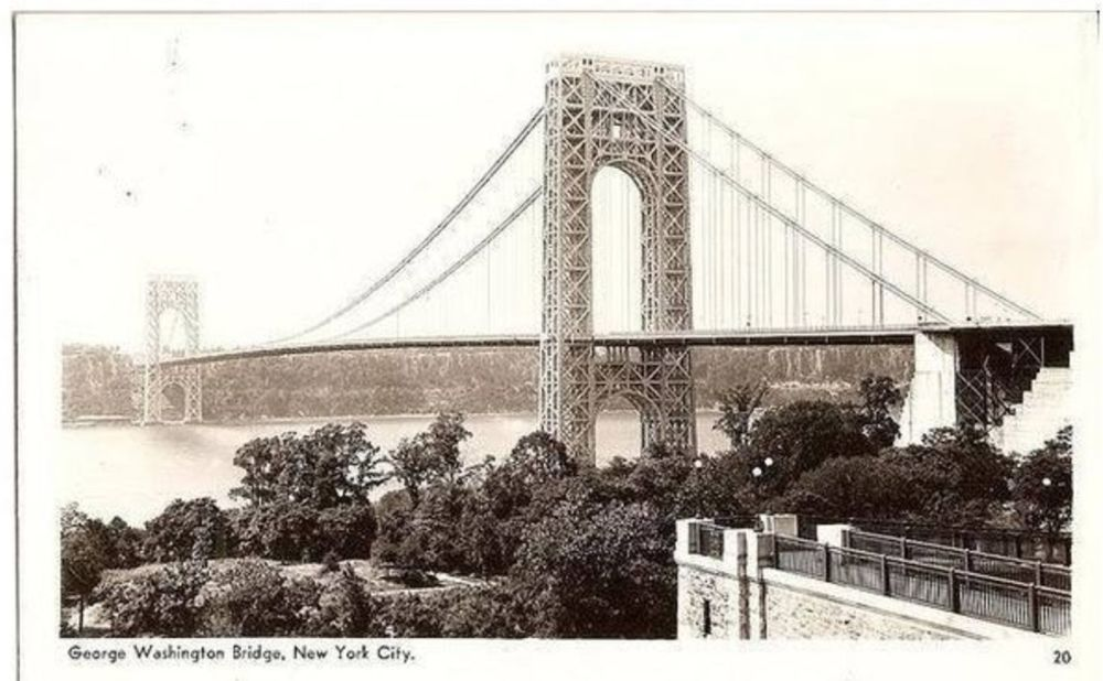 USA: New York. George Washington Bridge, New York City, 1930s RPPC