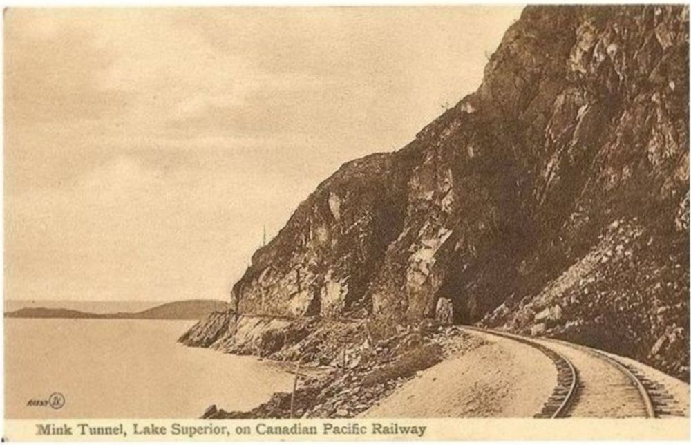 Canada: Mink Tunnel, Lake Superior,  Ontario. Canadian Pacific Railway CPR Postcard