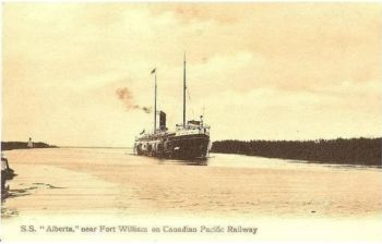 Canada: Ontario. SS Alberta Near Fort William, Canadian Pacific Railway CPR Postcard