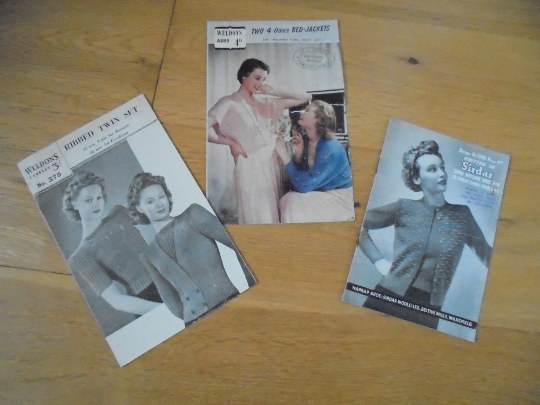 Vintage Knitting Patterns Lot x3, Weldons & Sirdar. 1940s, 1950s Era
