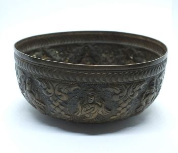 Antique Eastern Brass Bowl With Repousse Work Decorations