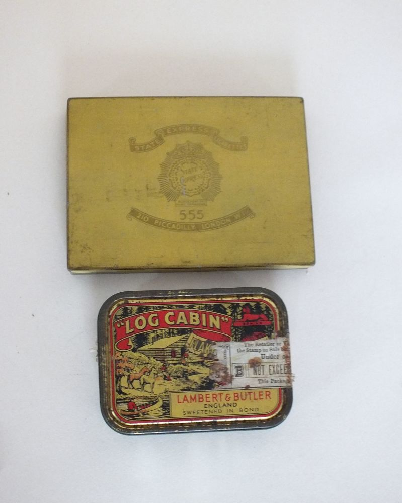Tobacco Tins, Lambert & Butler 2oz Log Cabin Tobacco Tin & State Express 555 Cigarettes Tin