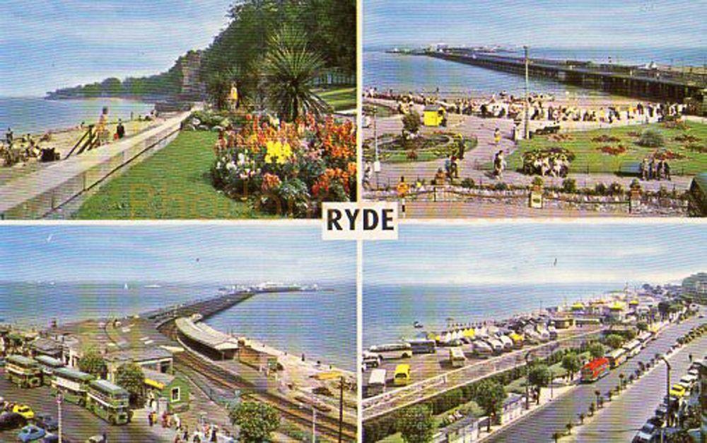 Ryde Isle of Wight Multiview Postcard - The Gardens & Apply Tower, Pier & Western Gardens, The Pier, Esplanade & Pavillion
