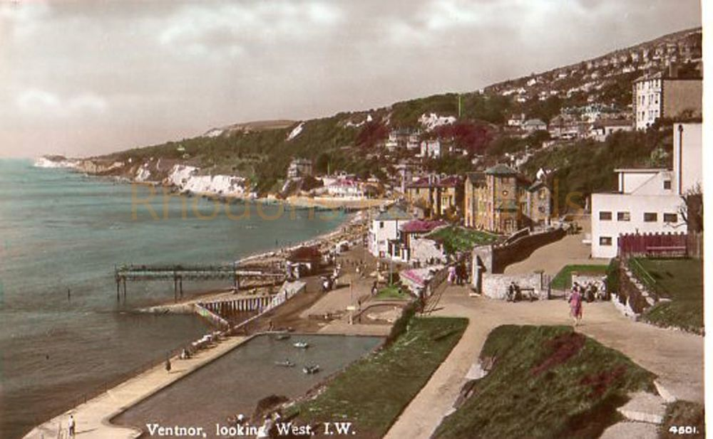 Ventnor Isle of Wight Looking West - Circa 1960s Real Photo Postcard
