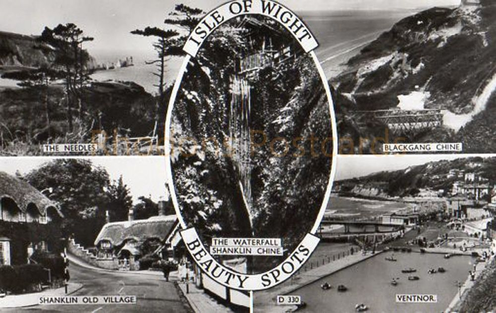 Isle Of Wight Beauty Spots Multiview Real Photo Postcard