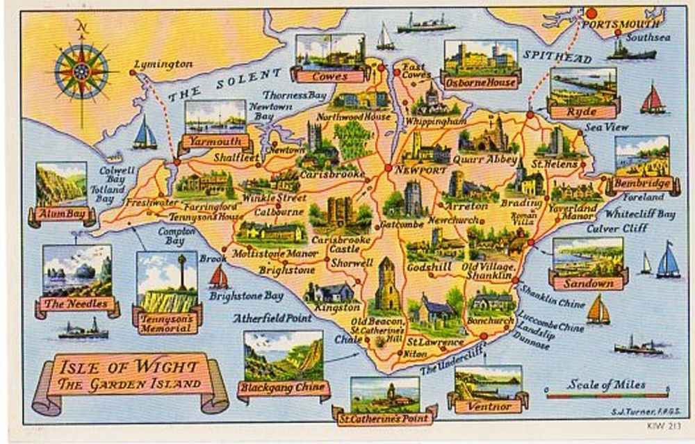 UK: Isle of Wight: The Garden Island Map Postcard