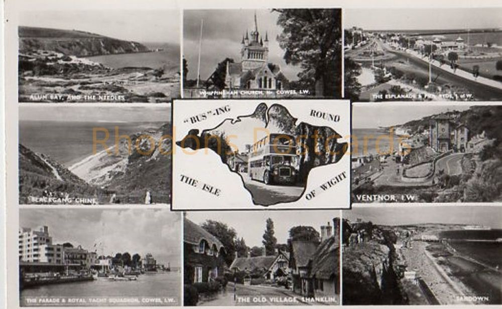 Isle of Wight: 'Bus' ing Round The Isle Of Wight - Nigh Multiview Real Photo Postcard