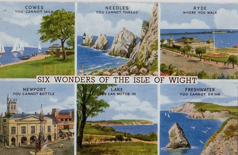 Isle of Wight: Six Wonders Of The Isle Of Wight Postcard Salmon Water Colour Series 4620 (269)