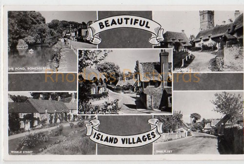 Isle of Wight: Beautiful Island Villages - Nigh Multiview Real Photo Postcard