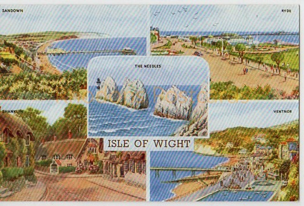 Isle Of Wight Multiview Postcard - Salmon Water Colour Series 3817