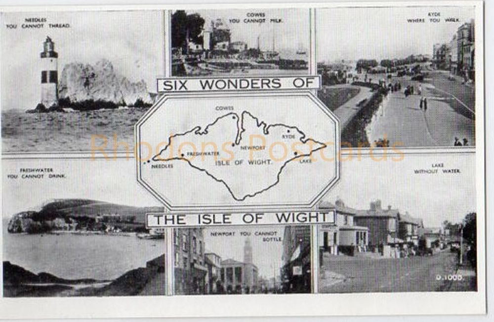 Six Wonders Of The Isle Of Wight Multiview Postcard - G Dean Bay Series D1000